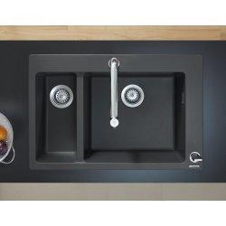 Chiuvete bucatarie Chiuveta bucatarie Hansgrohe S510-F635 SilicaTec 180/450, cu 2 cuve inegale, 51x77x19cm, graphite black