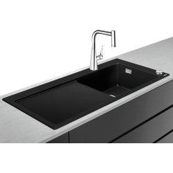 Seturi Chiuvete & Baterii Set Hansgrohe C51-F450-03 Sink combi 450 Select Chiuveta SilicaTec picurator stanga, 51x105x19cm graphite black + Baterie din doua elemente cu dus extractibil ComfortZone 220
