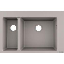 Chiuvete compozit Chiuveta bucatarie Hansgrohe S510-F635 SilicaTec 180/450, cu 2 cuve inegale, 41.5x77x19cm, concrete grey