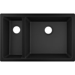 Chiuvete compozit Chiuveta bucatarie Hansgrohe S510-U635 SilicaTec 180/450, cu 2 cuve inegale, 45x71x19cm, montare sub blat, graphite black