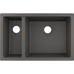 Chiuvete compozit Chiuveta bucatarie Hansgrohe S510-U635 SilicaTec 180/450, cu 2 cuve inegale, 45x71x19cm, montare sub blat, stone grey