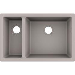 Chiuvete compozit Chiuveta bucatarie Hansgrohe S510-U635 SilicaTec 180/450, cu 2 cuve inegale, 45x71x19cm, montare sub blat, concrete grey