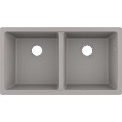 Chiuvete compozit Chiuveta bucatarie Hansgrohe S510-U770 SilicaTec 370/370, cu 2 cuve, 45x82x19cm, cu doua cuve, montare sub blat, concrete grey