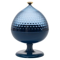 Bol cu picior si capac Kartell Pumo design Fabio Novembre, d21cm, h29cm, bleu-albastru