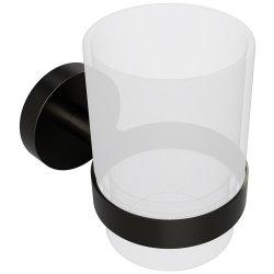 Accesorii baie Pahar sticla Bemeta Graphit cu suport de perete