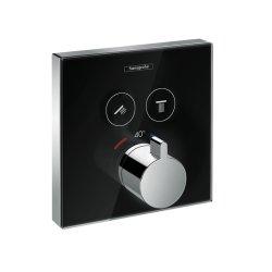 Baterii de baie Baterie cada termostatata Hansgrohe Select Glass negru-crom, montaj incastrat, necesita corp ingropat