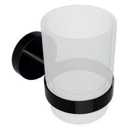 Accesorii baie Pahar sticla Bemeta Hematit cu suport de perete