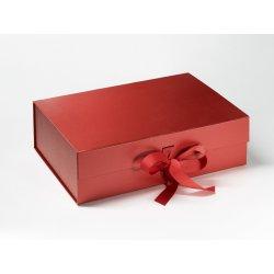 Cadouri de Paste Cutie cadou FoldaBox A4 Deep, inchidere magnetica si fundita, Pearl Red