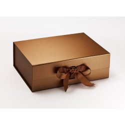 Cadouri pentru Amandoi Cutie cadou FoldaBox A4 Deep, inchidere magnetica si fundita, Copper