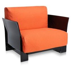 Canapele & Fotolii Fotoliu Kartell Pop design Piero Lissoni & Carlo Tamborini, cadru negru, Trevira portocaliu