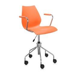 Scaune birou Scaun birou cu brate Kartell Maui, design Vico Magistretti, portocaliu