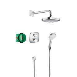 Sistem de dus incastrat termostatat Hansgrohe Design Croma Select E Ecostat E cu 2 consumatori