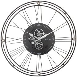 Default Category SensoDays Ceas de perete NeXtime Roman Gear XXL 90.5cm, negru-argintiu