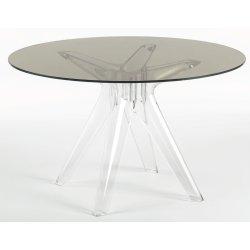 Mobilier Masa Kartell Sir Gio design Philippe Starck, diametru 120cm, fumuriu transparent