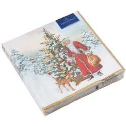 Decoratiuni  Set servetele hartie Villeroy & Boch Winter Specials C-Napkin Santa with Fir Tree 25x25cm