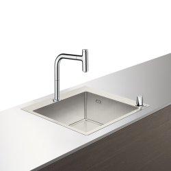 Seturi Chiuvete & Baterii Set Hansgrohe Sink Combi C71-F450-06, chiuveta inox 550mm + baterie din doua elemente cu dus extractibil, crom