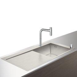 Seturi Chiuvete & Baterii Set Hansgrohe Sink Combi C71-F450-07, chiuveta inox 1045mm picurator stanga + baterie din doua elemente cu dus extractibil, crom