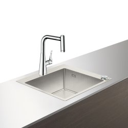 Default Category SensoDays Set Hansgrohe Select Sink Combi C71-F450-01, chiuveta inox 550mm + baterie cu pipa rotativa si dus extractibil, crom