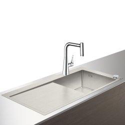 Seturi Chiuvete & Baterii Set Hansgrohe Select Sink Combi C71-F450-02, chiuveta inox 1045mm cu picurator stanga + baterie cu pipa rotativa si dus extractibil, crom