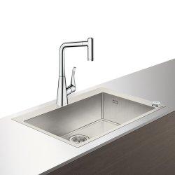 Seturi Chiuvete & Baterii Set Hansgrohe Select Sink Combi C71-F660-03, chiuveta inox 760mm + baterie cu pipa rotativa si dus extractibil, crom