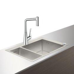 Seturi Chiuvete & Baterii Set Hansgrohe Select Sink Combi C71-F655-04, chiuveta inox 500x755mm, cuva mare dreapta + baterie cu pipa rotativa si dus extractibil, crom