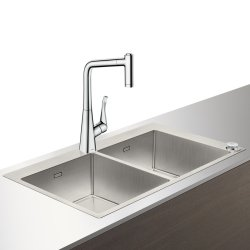 Seturi Chiuvete & Baterii Set Hansgrohe Select Sink Combi C71-F765-05, chiuveta inox 865mm cu doua cuve + baterie cu pipa rotativa si dus extractibil, crom