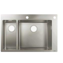 Chiuvete bucatarie Chiuveta bucatarie Hansgrohe S712-F655, 755x500mm, cuva mare dreapta, orificiu buton control, inox