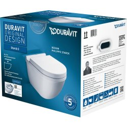 Default Category SensoDays Set vas WC suspendat Duravit Starck 3 Rimless cu capac inchidere lenta