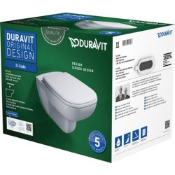 Default Category SensoDays Set vas WC suspendat Duravit D-Code Rimless si capac inchidere lenta