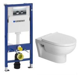 Seturi vase WC Set vas WC suspendat Duravit Durastyle cu capac inchidere lenta, rezervor incastrat Geberit Duofix Delta PLUS cu clapeta Delta 21 crom