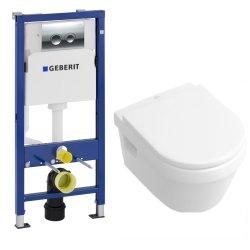 Obiecte sanitare Set vas WC suspendat Villeroy&Boch Omnia Architectura cu capac inchidere lenta, rezervor incastrat Geberit Duofix Delta PLUS cu clapeta Delta 21 crom