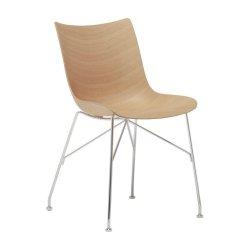 Scaun Kartell Smart Wood P/Wood design Philippe Stark, Basic Veneer, Light wood, picioare crom