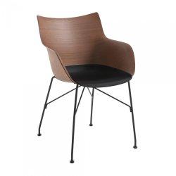 Scaun Kartell Smart Wood Q/Wood design Philippe Stark, Basic Veneer, Dark wood - sezut negru, picioare negre