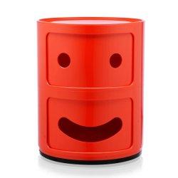 Mobilier Comoda modulara Kartell Componibili 2 Smile Happy, design Anna Castelli Ferrieri, rosu