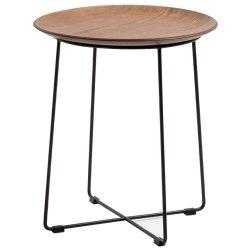 Masute de cafea Masuta Kartell Al Wood design Philippe Stark, d40cm, h45.5cm, frasin, baza negru, lemn inchis