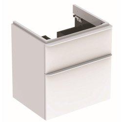 Dulapuri si blaturi pentru lavoare baie Dulap baza Geberit Smyle Square cu 2 sertare, 60cm, alb lucios