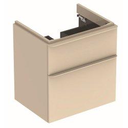 Dulapuri si blaturi pentru lavoare baie Dulap baza Geberit Smyle Square cu 2 sertare, 60cm, gri nisip lucios