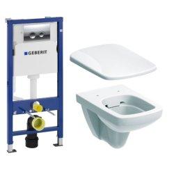 Default Category SensoDays Set vas WC suspendat Geberit Selnova Square Rimfree cu capac inchidere lenta