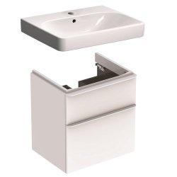 Default Category SensoDays Set mobilier Geberit Smyle, lavoar 60cm si dulap cu doua sertare, alb lucios