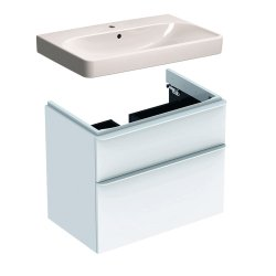 Default Category SensoDays Set mobilier Geberit Smyle, lavoar 75cm si dulap cu doua sertare, alb lucios