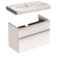 Default Category SensoDays Set mobilier Geberit Smyle, lavoar 90cm si dulap cu doua sertare, alb lucios