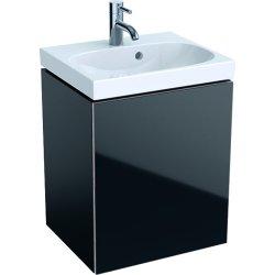 Mobilier de baie Dulap baza Geberit Acanto 44.5x37.5cm cu o usa sticla neagra, corp negru mat