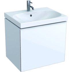 Dulap baza Geberit Acanto 59.5x47.5cm cu un sertar sticla alba, corp alb lucios