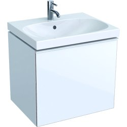 Default Category SensoDays Dulap baza Geberit Acanto 59.5x47.5cm cu un sertar sticla alba, corp alb lucios
