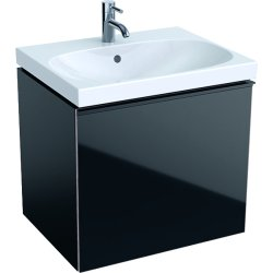 Default Category SensoDays Dulap baza Geberit Acanto 59.5x47.5cm cu un sertar sticla negru, corp negru mat