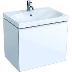 Mobilier de baie Dulap baza Geberit Acanto 64x47.5cm cu un sertar sticla alba, corp alb lucios