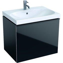 Mobilier de baie Dulap baza Geberit Acanto 64x47.5cm cu un sertar sticla negru, corp negru mat