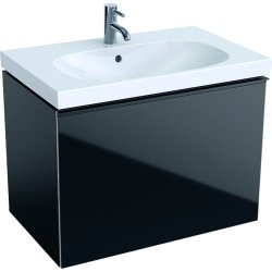 Dulap baza Geberit Acanto 74x47.5cm cu un sertar sticla negru, corp negru mat