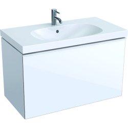 Dulap baza Geberit Acanto 89x47.5cm cu un sertar sticla alba, corp alb lucios