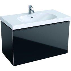 Mobilier de baie Dulap baza Geberit Acanto 89x47.5cm cu un sertar sticla negru, corp negru mat